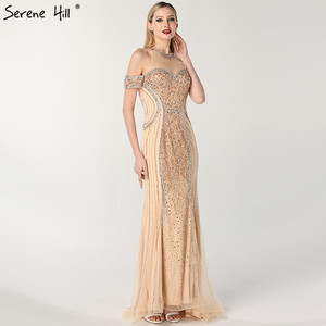 Image 3 - Luxury Sexy Gold Diamond Mermaid Evening Dresses Sleeveless Sparkly Mermaid Evening Gown  2020  Real Photo LA60797