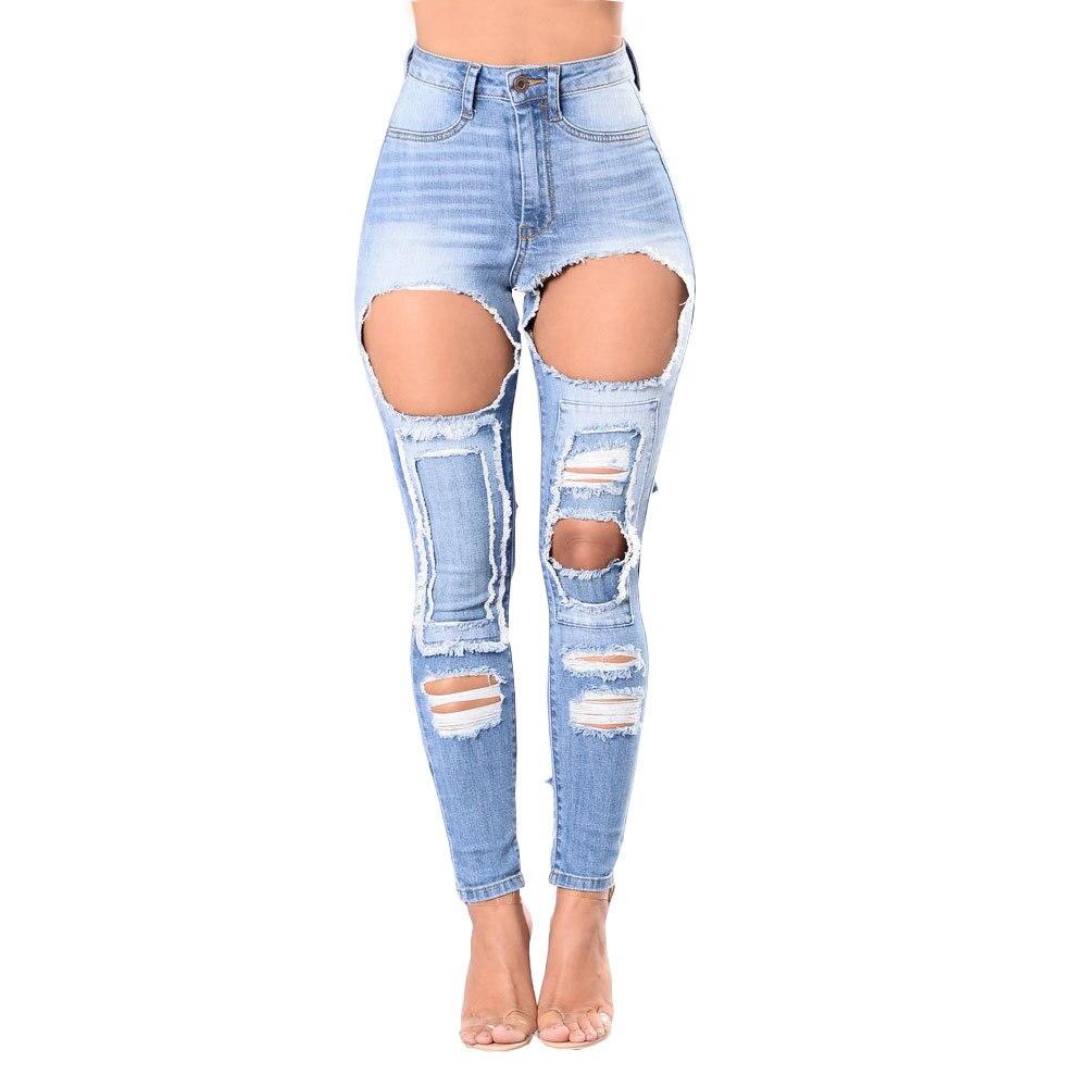 Iadoaixnal Loch Zerrissene Jeans Frauen Hosen Kühlen Denim Vintage Jeans Für Mädchen Hohe Taille Casual Hosen der Weiblichen Dünnen bleistift Jeans