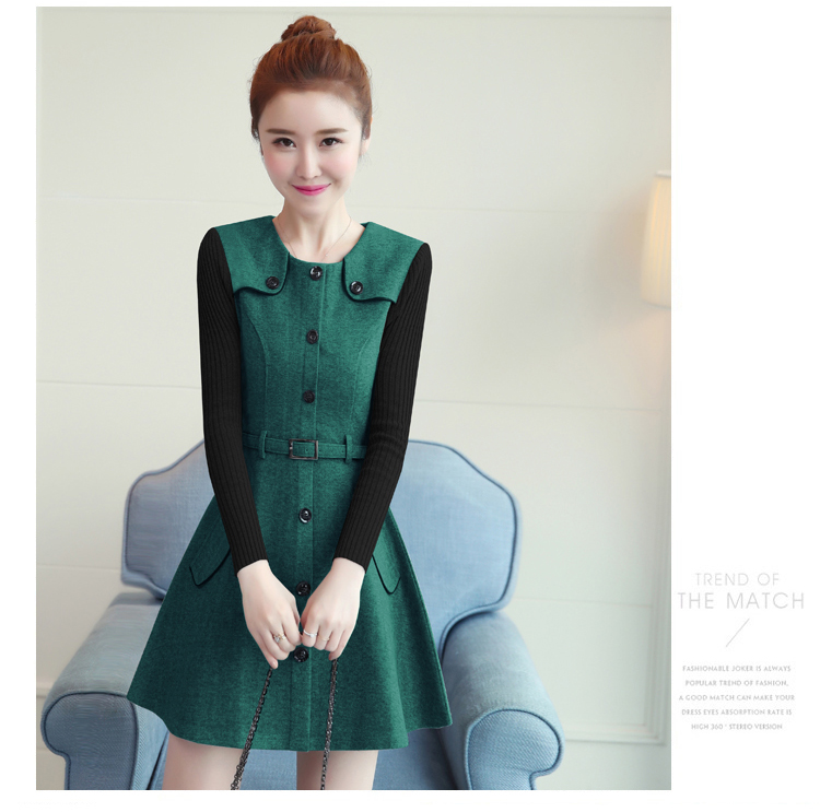 winter new round collar single-breasted cloth dress belt buttons A word women dresses Korean fashion outfit lady vogue vestido 21