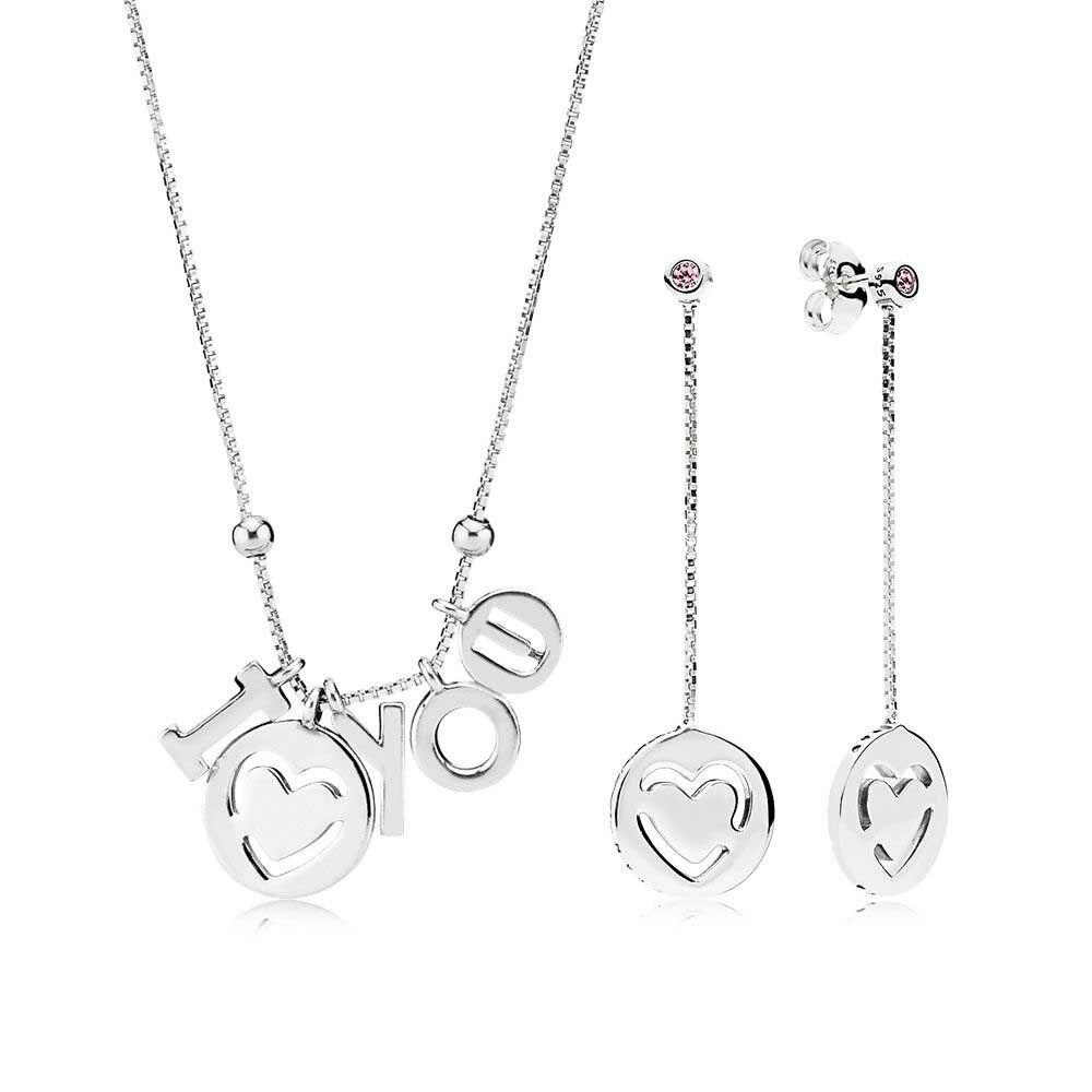 Kristie 2018 100% 925 argent Sterling I Love You collier et boucle d'oreille ensemble cadeau fit charme original collier bijoux un ensemble