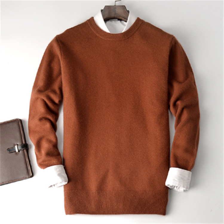 Large Size Pure Goat Cashmere Thick Knit Men Smart Casual Oneck Loose Pullover Sweater Solid Color S-3XL Retail Wholesale