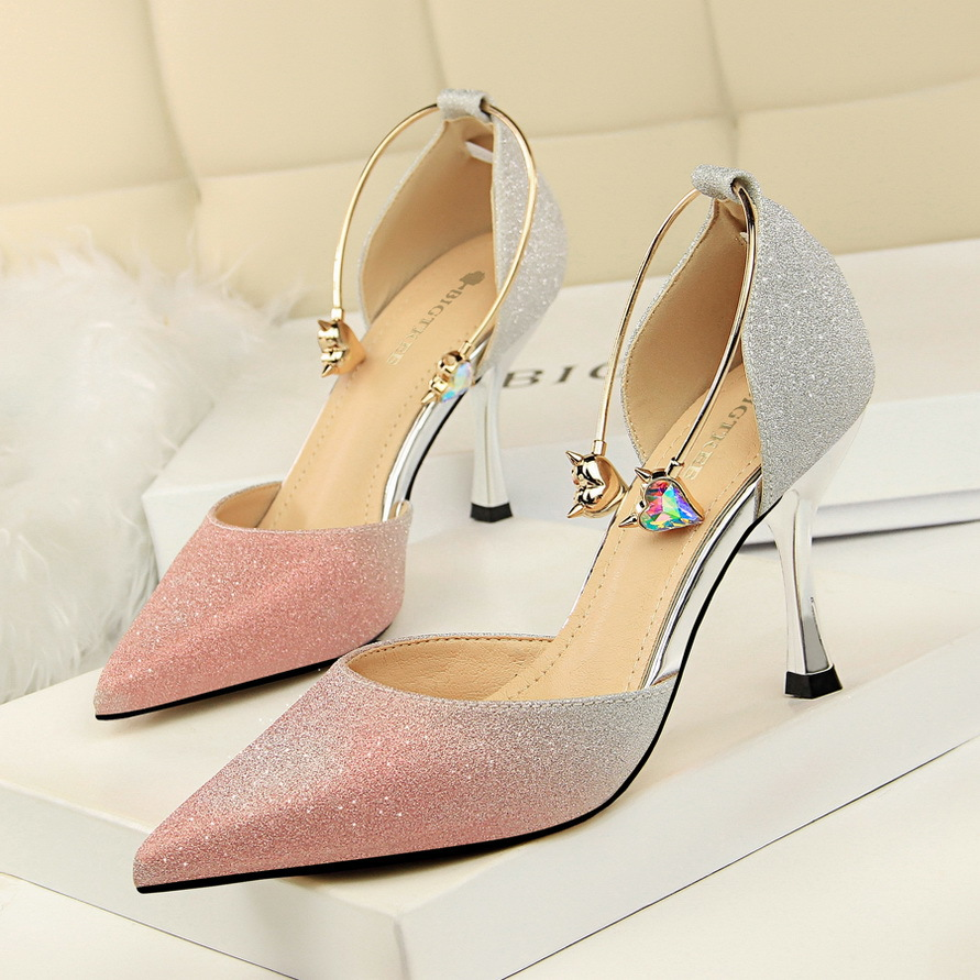 Buckle strap women pumps Classic Slingback sandals summer high heels pumps women shoes gradient hollow pointed rhinestone metal
