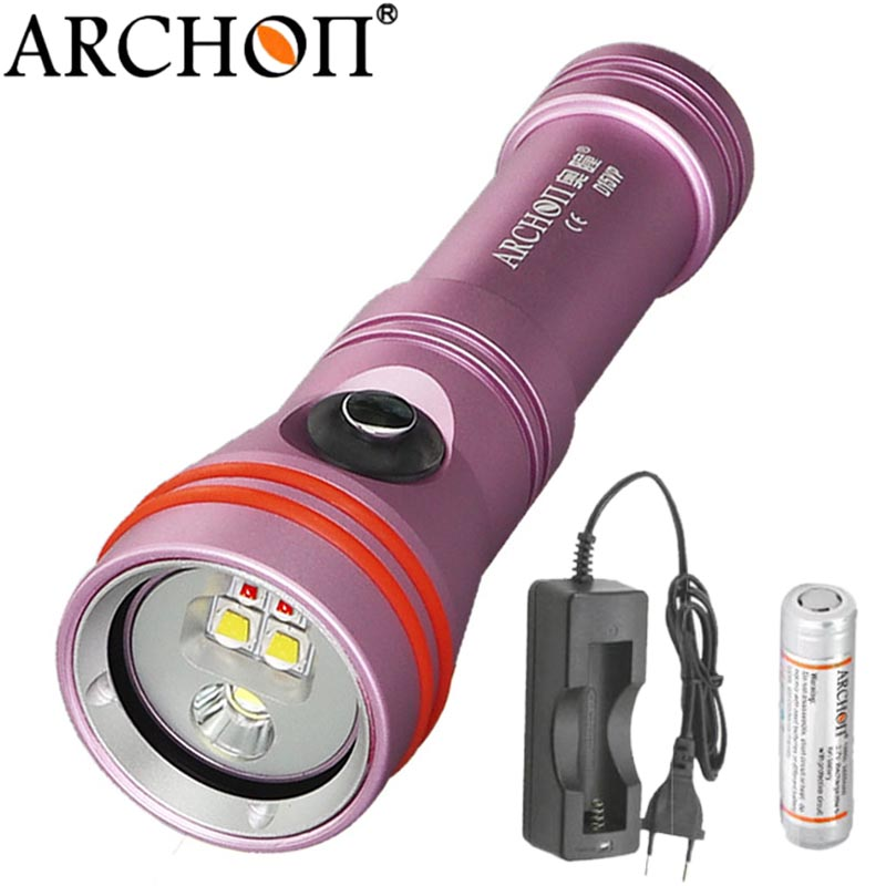 Diving Video Light Torch Underwater Flashlight ARCHON D15VP Spot Light max 1300 lumens CREE LED White Red Lamp For 18650 battery new led diving torch underwater photography video flashlight white red uv light dive torch light lamp for diving 18650 battery