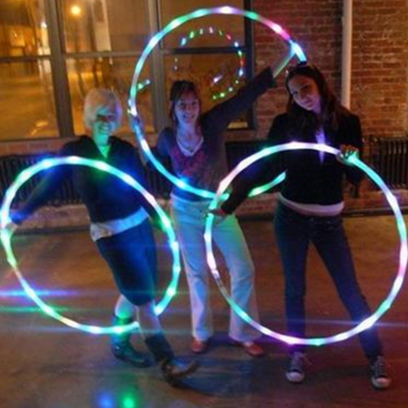 LED Sports Hoop Flashing Light Toy For Kids Adults Color Changing LED Exercise Hoop FH99