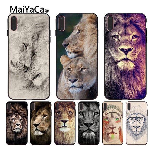 1a72b7b93b9 MaiYaCa Animals The lion Coque Shell Phone Case For Apple iPhone X 8 8plus  7 7plus 6 6s Black rubber soft phone shell Cover