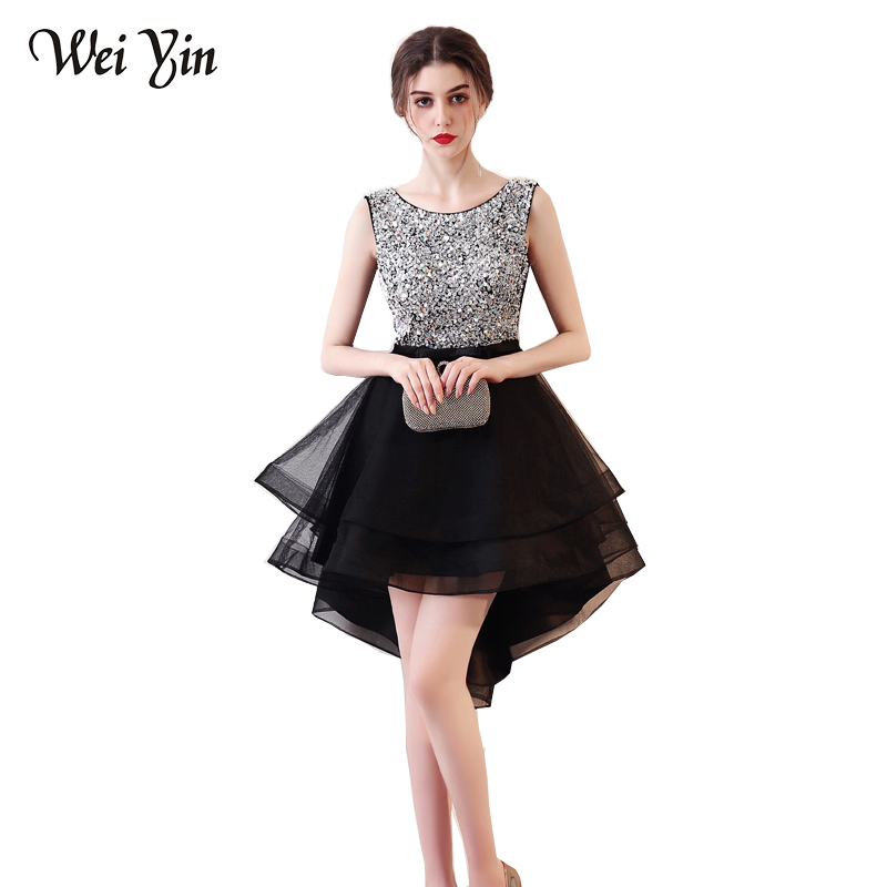 WeiYin Vestido De Festa Curto Sexy Black Crystal Short Prom Dresses 2018  Cheap 9 Colors Real Image Short Evening Party Dress 3510e8eb3e71
