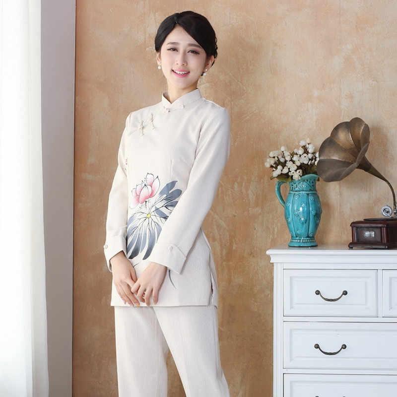新着中国スタイルのコットンリネン女性唐装トップスブラウス伝統的な構図シャツプラスサイズ S 4XL 2508-3