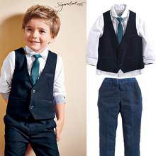 England Gentle Suit Sets For Boys Long Sleeve Shirt +Classic Polka Dot Tie +Man vest +Solid Pants Fashion Slim Baby Clothes