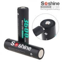 Soshine 2pcs NCR 18650 Batteries Li ion 3.7V 13.32WH 3600mAh Rechargeable Battery for Flashlight / Headlamp