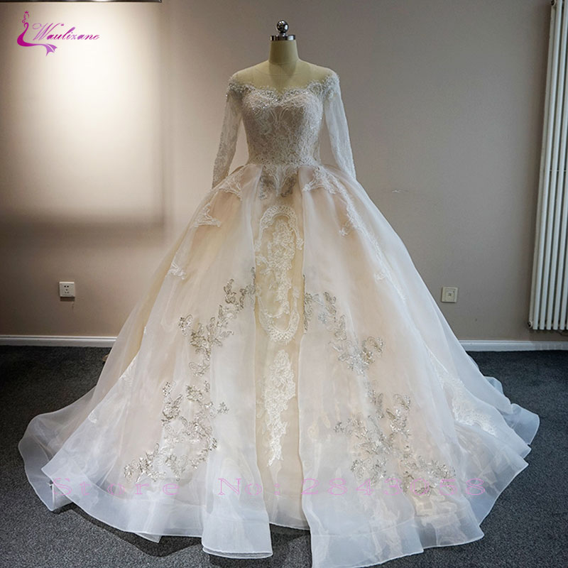 Full Ball Gown Wedding Dresses: Waulizane Romantic Unique Lace Full Sleeves Ball Gown