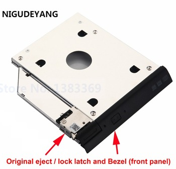 2nd HDD SSD Hard Drive Caddy Adapter with eject lock latch mechanism for Dell Latitude E6320 E6420 E6520 E6330 E6430 E6530 tanie i dobre opinie 2 5 w Aluminium Godzin Esata NoEnName_Null 9 5 mm Nowy 2nd Second Optical HDD SSD Caddy With original Built-in eject lock mechanism