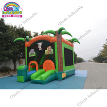Commercial Tropical inflatable jumping bounce house, inflatable kids combo bouncy house for sale