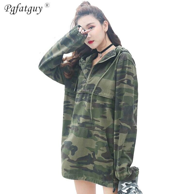 Printemps Hop Femme Vintage 2019 Camouflage À En Manteau Hip Jeans Bombardier Manches Denim Militaire Jean Veste Blousons Décontracté Vert Longues AP5Ywnq