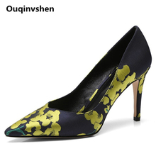 Ouqinvshen Flower Pointed Toe Woman Shoes 2018 Spring Thin Heels Casual Concise Silk Women Heels Fashion Pumps Shoes Women 9CM