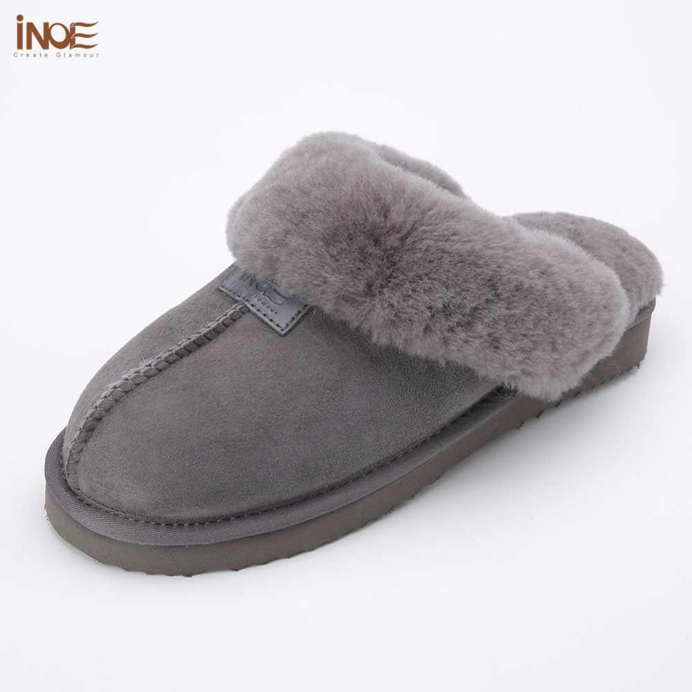 newest collection classic styles hot product INOE sheepskin leather wool fur lined men home shoes winter suede slippers  indoor house shoes for man half slippers high quality