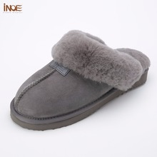 INOE sheepskin leather wool fur lined men home shoes winter suede slippers indoor house shoes for man half slippers high quality