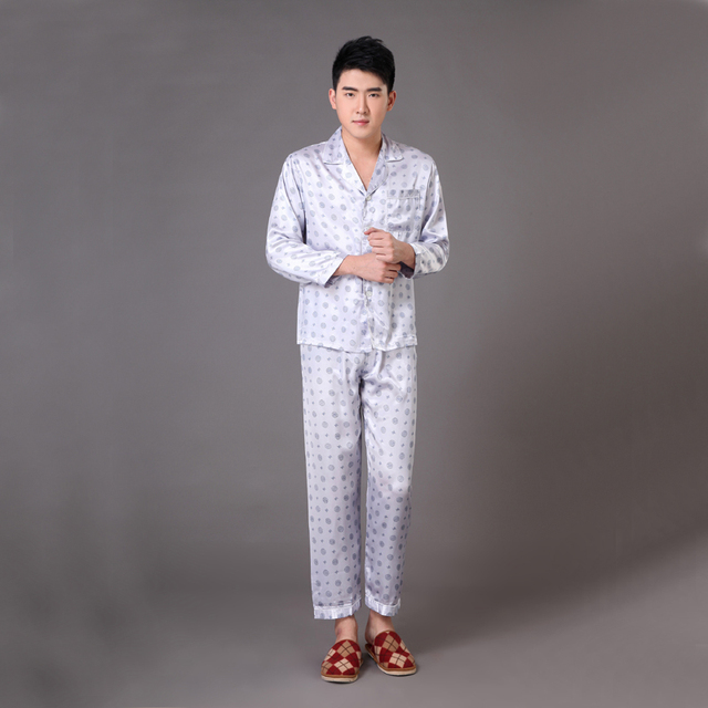 Gray Spring Autumn New Men's Satin Sleepwear Chinese Vintage Print Pyjama Suit Pajama Set Lounge Wear S M L XL XXL XXXL MP012