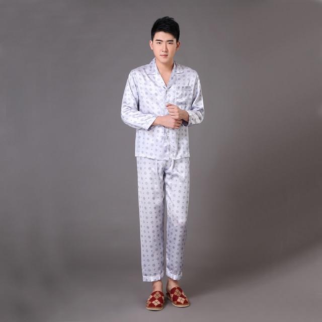 Gray Spring Autumn New Men's Satin Sleepwear Chinese Vintage Print Pyjama Suit Pajama Set Lounge Wear S M L XL XXL XXXL MP012