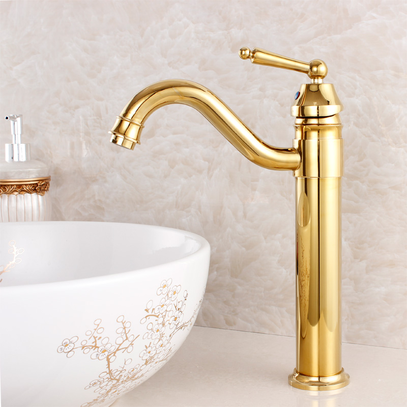 2015 Rushed Tap For Bathroom Fashion Quality Bathroom Basin Gold Plated Faucet Copper Antique Rotating Hot And Cold Beightening copper bathroom shelf basket soap dish copper storage holder silver