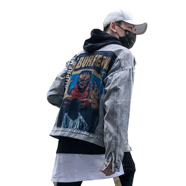 Autumn Vintage Frayed Hole Denim jacket High Street Hip Hop Demon Print Patch Designs Leisure Men Women Loose Gray Cowboy Coats Timelord Clothing UK