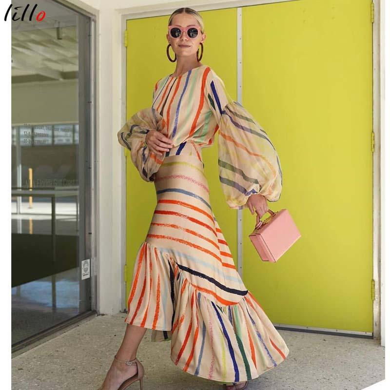 Image 3 - AsymmetricalLantern スリーブストライプドレスファッションカジュアル気質夏ドレスフリル新潮流 2019 ユニークなデザインセクシーなドレス -    グループ上の レディース衣服 からの ドレス の中
