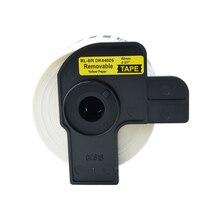 AOMYA 2 рулона этикетка лента DK-44605 этикетка 62 мм* 30,48 м Непрерывная Совместимость для Brother переводная резина/бумага черный на желтом