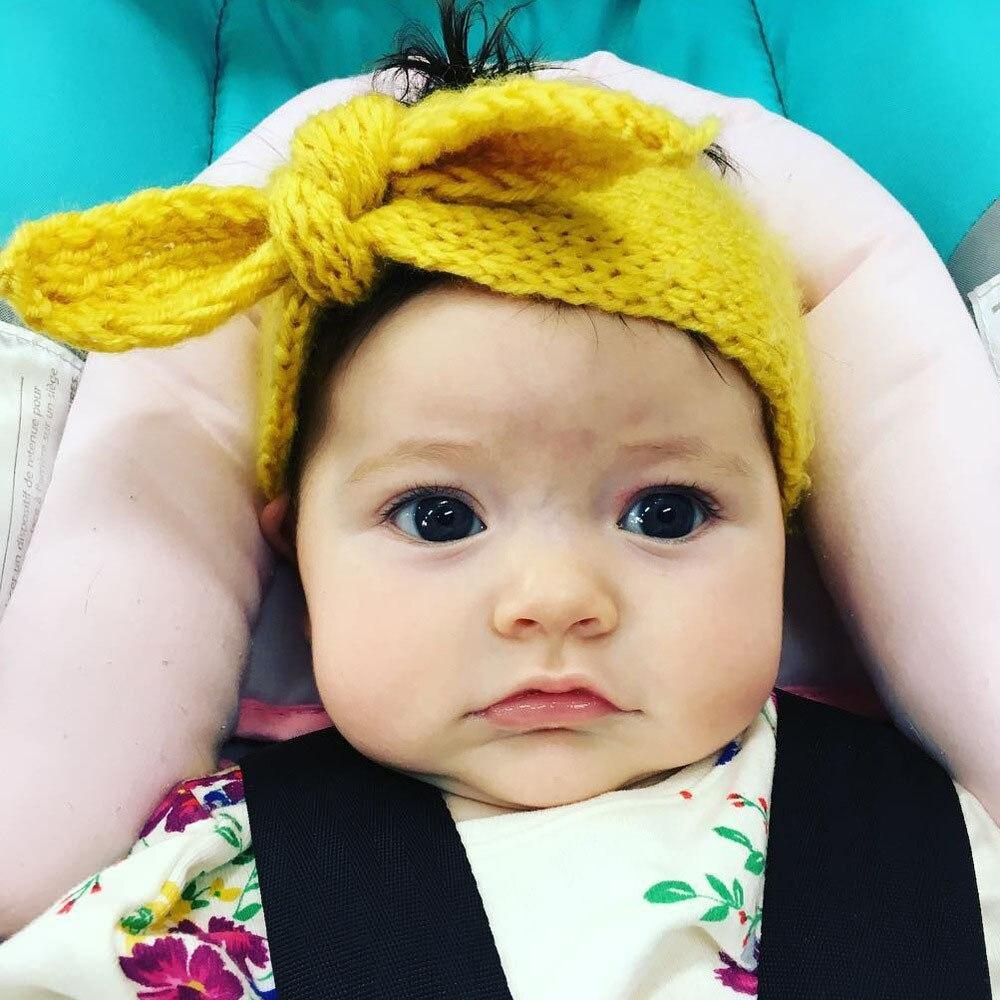 1pcs New Baby Cute Rabbit Ear Wool Headband Kids Girls Cartoon Knitted Hairbands Children Autumn Winter Warm Hair Accessories
