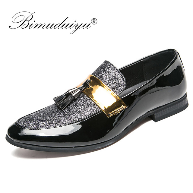 BIMUDUIYU Italiaanse Kwastje Business Mannen Loafers Schoenen Lederen Elegante Formele Jurk Flats Oxford Schoenen Designer Kantoor Schoeisel
