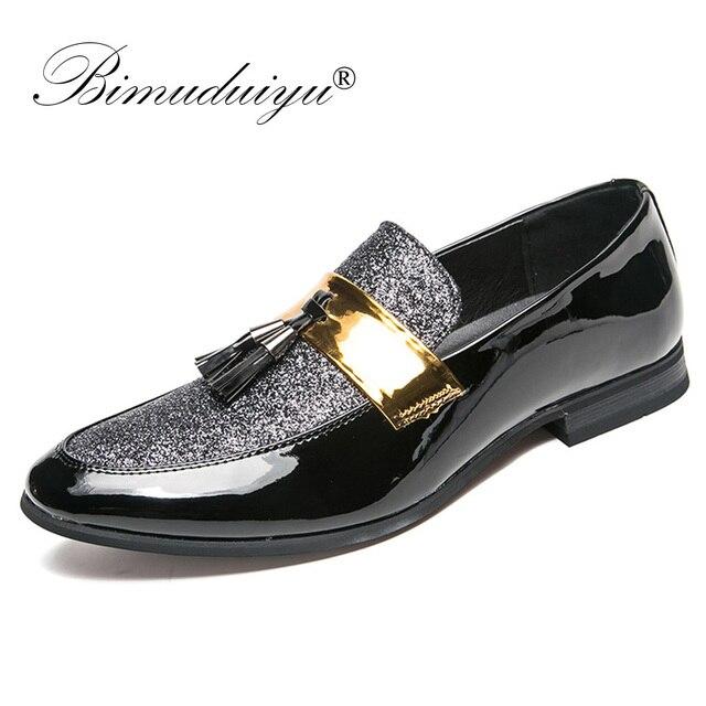 6c7c564759ac BIMUDUIYU Italian Tassel Business Men Loafers Shoes Leather Elegant Formal Dress  Flats Oxford Shoes Designer Office Footwear