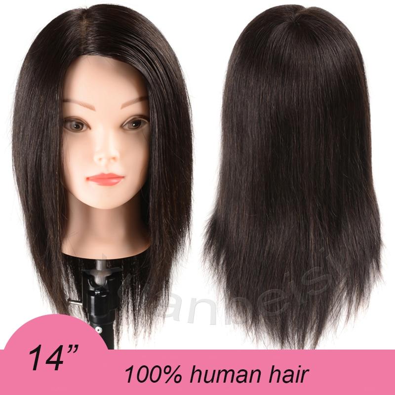 100%Human Hair Training Head For Beauty Academy Practice Curl Dye Cut Hairdressing Head 14