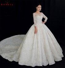 Custom Made imperium z długim rękawem duży pociąg koronki frezowanie kryształ luksusowe suknie ślubne 2020 prawdziwe zdjęcia suknia ślubna YB127