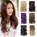 "One Piece Clip In Hair Extensions Curly Blonde 5 Clip Ombre Synthetic Hair Style Hairpiece Curly/Wavy 3/4 Full Head 22""130g/Pack"
