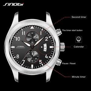 Image 3 - SINOBI שעון גברים צבאי הכרונוגרף יד שעוני יוקרה מותג תאריך עור שעון זכר ספורט הלם ז נבה קוורץ שעוני יד