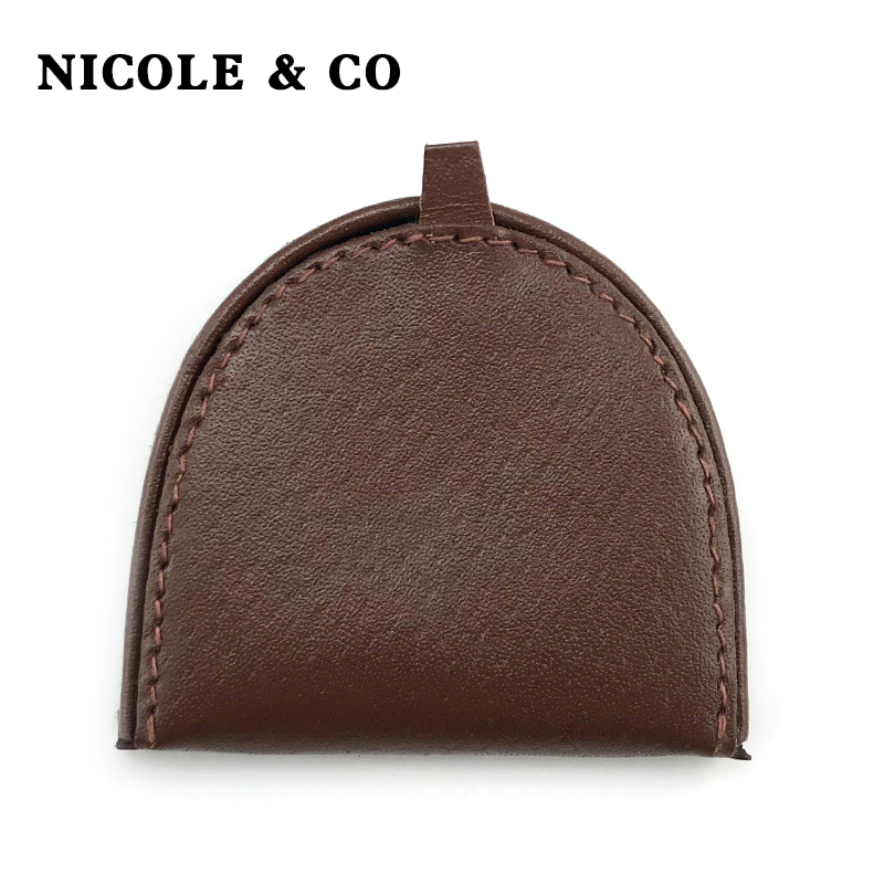 NICOLE & CO Genuine Leather Coin Purse Men Change Purse Metal Hasp Closure Card Holder Wallet Ipper Small Bag