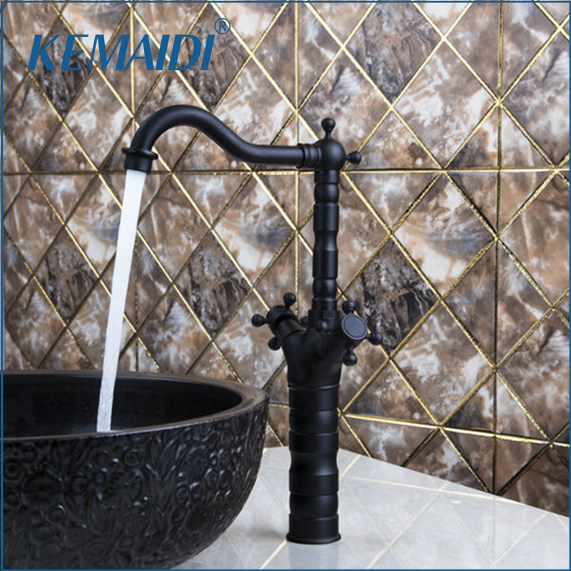 KEMAIDI Tall Kitchen Torneira Double Handle Swivel 360 Oil Rubbed Black Bronze Wash Basin Sink Lavatory Faucets Faucet Mixer Tap manitobah унты tall grain mukluk женск 11 black черный