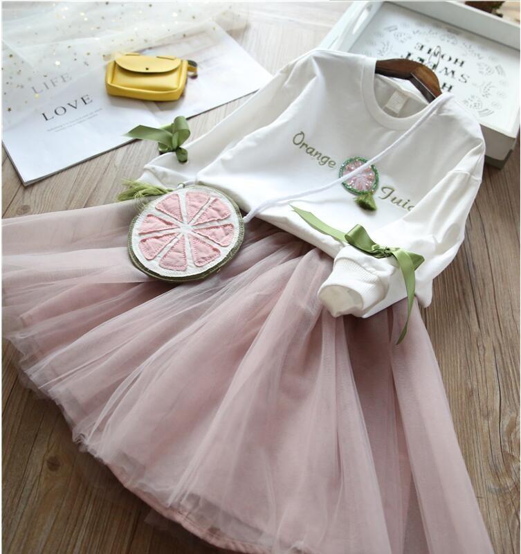 YP1806659 2018 Spring Fashion Baby Girls Dress Lace Girls Princess Dress WIth Bag Girl Dress Baby Clothing Birthday Dress baby girl birthday princess dress spring