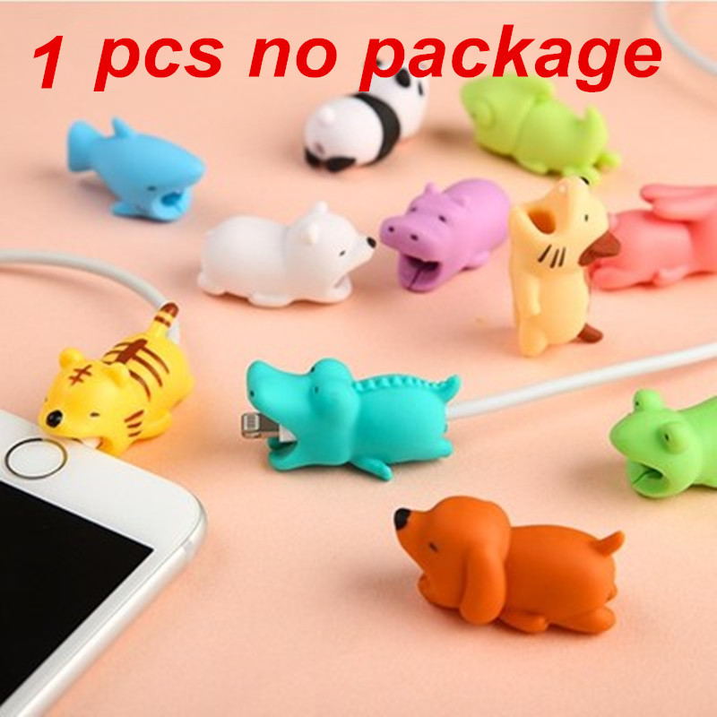 1 pces cabo morde animal protetor para iphone cabo chompers nenhum pacote