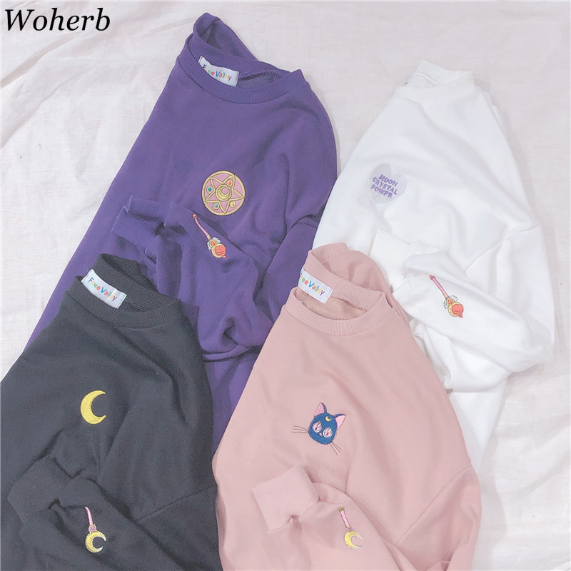 Woherb Spring Summer 2019 Harajuku Kawaii Thin Sweatshirt Women Sailor Moon Embroidery Cosplay Long Sleeve Tops Hoodie 21262