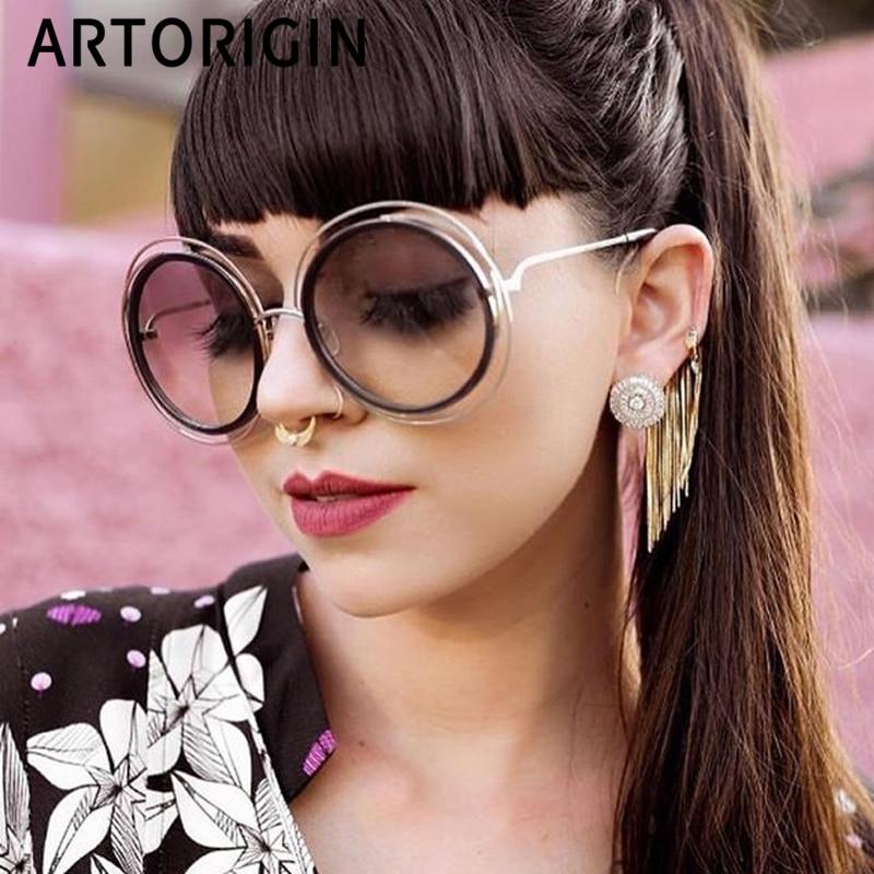 Brand Designer Round Sunglasses Women Oversize Cut Eyes Ladies Sun Glasses Retro Oculos De Sol Feminino