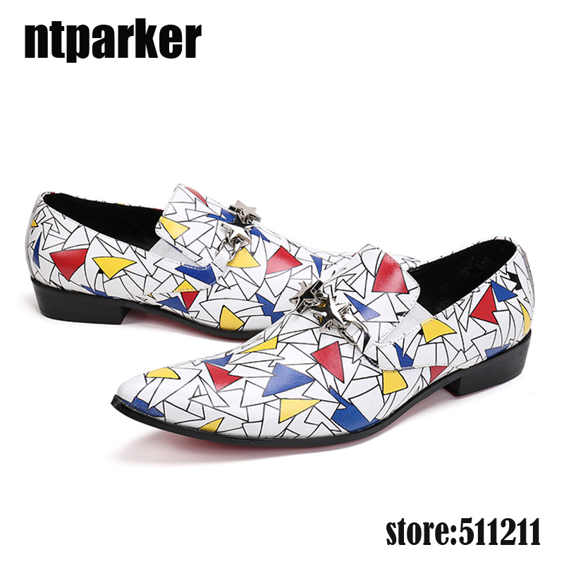 ntparker-Luxury Men Loafers Shoes Slip on Italian Style Men Leather Shoes Mixed Colors Print Men's Business Shoes, Size 38-46! men mixed print tee
