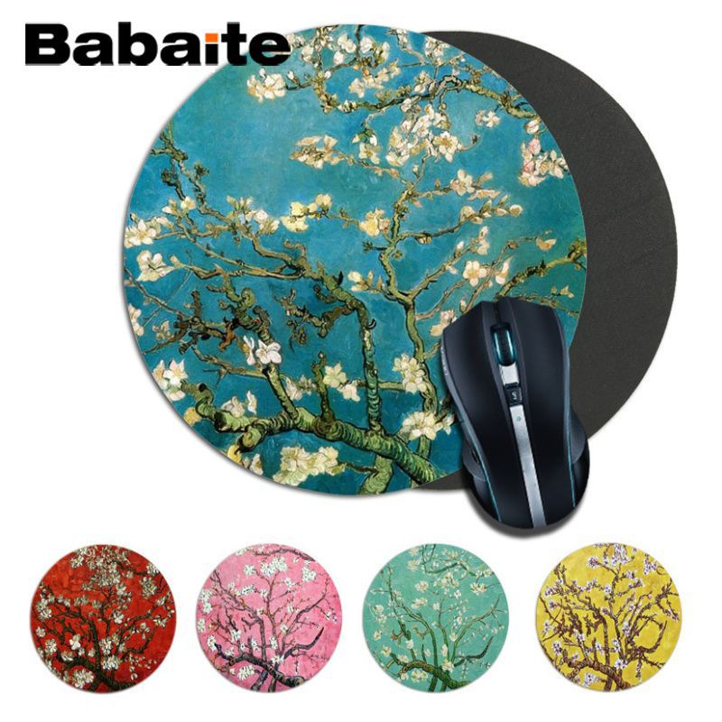 Babaite Simple Design Print  Almond Blossoms Van Gogh Paiting Unique Desktop Pad Game Mousepad Round Mousepad Game Mousepad