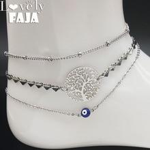 цена на 3PCS Tree of Life Stainless Steel Bracelet Ankle for Women Silver Color Boheme Ankle Bracelets Jewelry pulsera pie A612349