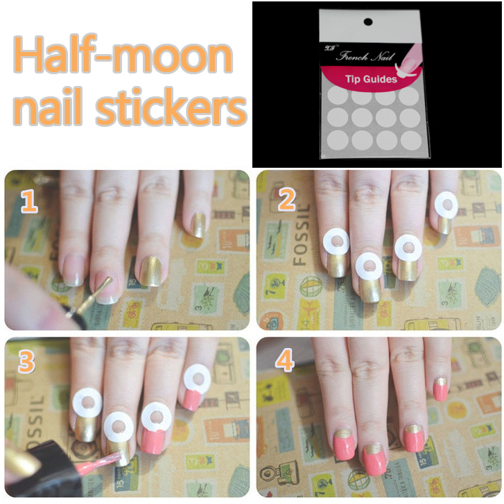 5 Packs/lot French Manicure Cartoon Nail Art Tips Creative Nail Tape ...