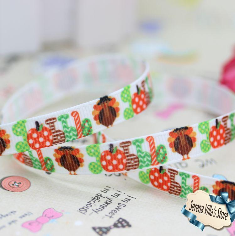 New 3/8 Thanksgiving Day Turkey Printed Grosgrain Ribbon Hairbow Party one direction cheap logo gift wrap birthday gift paking