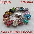 Bsz01 chegada nova 6 x 10 mm 10 pçs/lote de cristais com configurações garras 4 furos cristal strass costura suprimentos