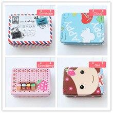 4 Pcs Photo Storage Box for Fujifilm Instax Mini Film Cartoon Small Iron Tin Jewelry Coins Card Holders Tiny Items Storage-