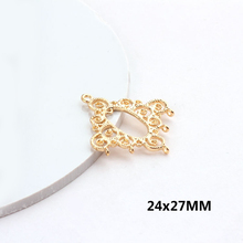 6PCS 24x27MM 24K Gold Color Plated Brass hollow round lace Charms Pendants for Jewelry Making Findings