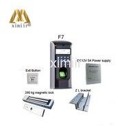 Хит продаж F7 доступа отпечатков пальцев Управление комплект с Питание и магнитный замок, сенсорный кнопка выхода, кронштейн