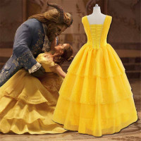Girls Fancy Dress Woman Yellow Princess Party Dress Movie Beauty And The Beast Belle Cosplay Costumes