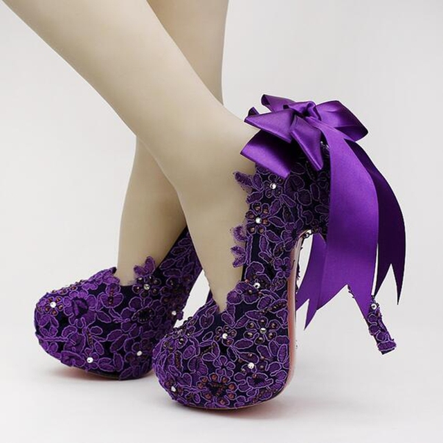 13c5574b563 new ultra-high with waterproof purple satin bridal shoes tassel pearl lace  wedding shoes fine with singles shoes